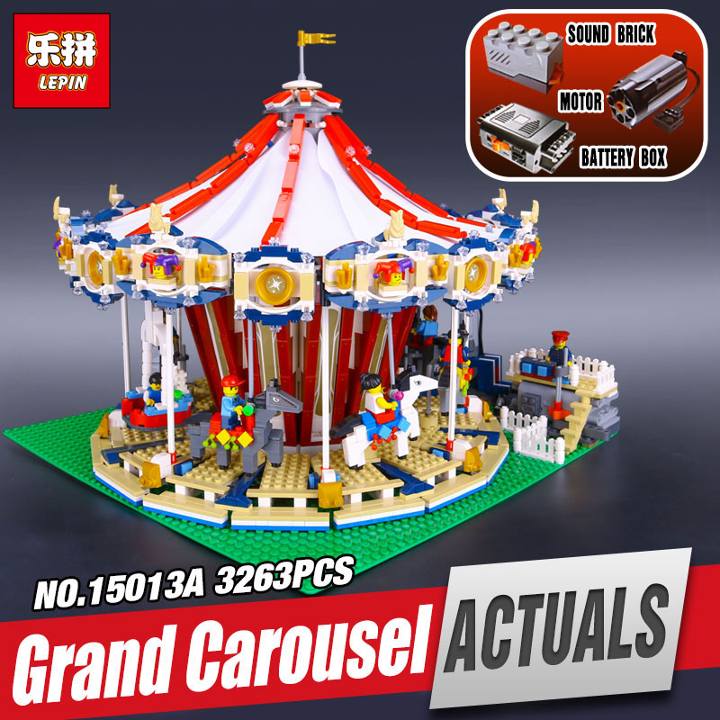 DHL LEPIN 15013 City Sreet Carousel Model Educational Building Kits Blocks Toy Compatible Funny Toy For Children legoing 10196