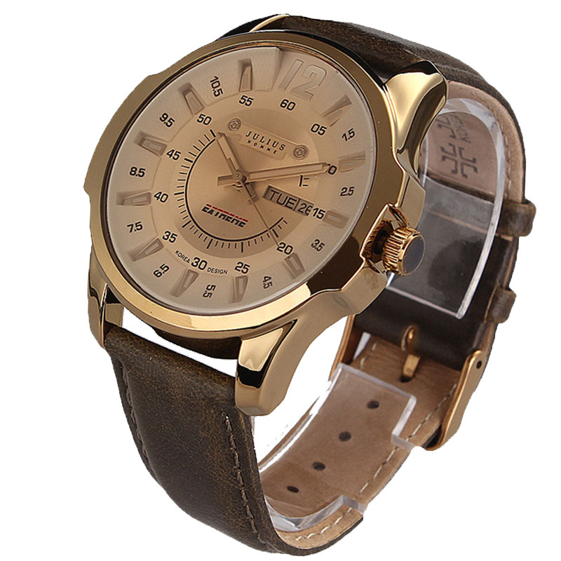 Prix pour D'origine JULIUS luxe Mode Hommes montres de Sport bracelet En Cuir Véritable Mâle Doit Quartz montre étanche montre-bracelet JAH-017