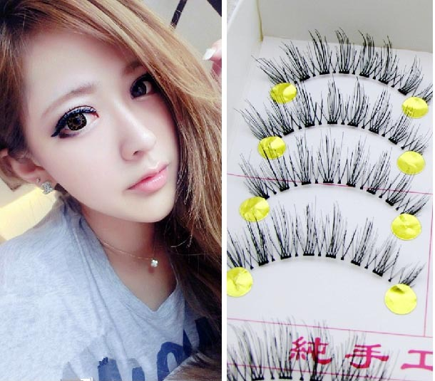 Cute Girl Fashion Lashes Natural Cross Thick False -4142