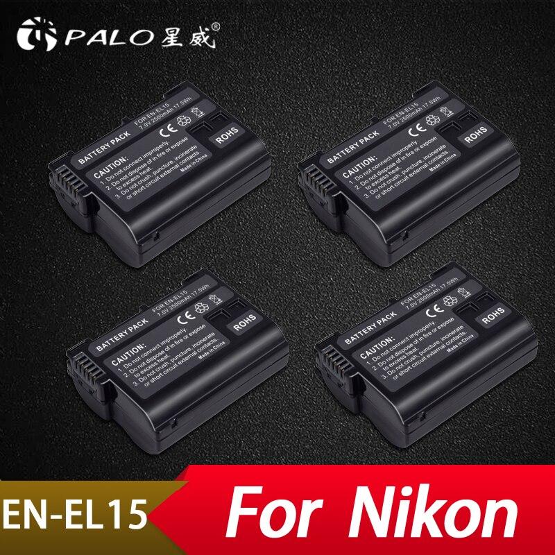цена на Palo 4Pcs 2500mAh EN-EL15 ENEL15 EN EL15 Digital Camera Battery For Nikon DSLR D600 D610 D800 D800E D810 D7000 D7100 D7200