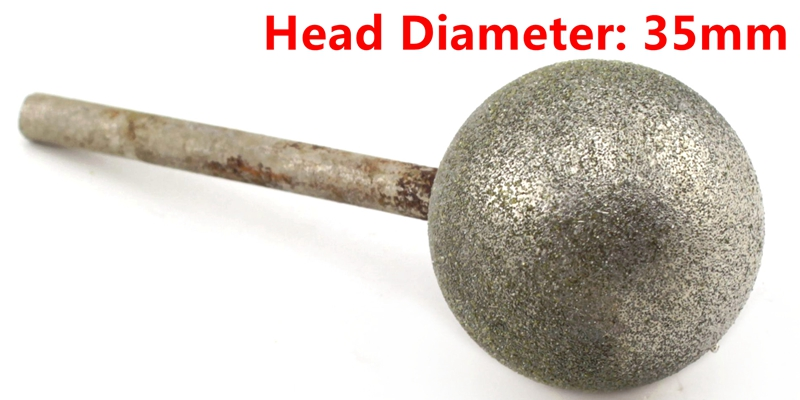 JOINER 35 mm Dia Spherical Head Diamond Grinding Bit Coated Mounted Points Round Ball Burs Grit 80 Shank 6mm Coarse Tools for Stone