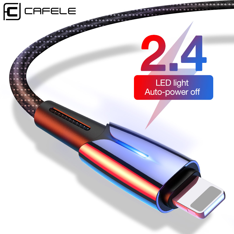 Cafele LED USB Cable for iPhone 6 7 8 Plus X XS MAX XR Charger Auto Power off 2.4A max Data Cable for iPhone 180CM Charging Wire-in Mobile Phone Cables from Cellphones & Telecommunications on AliExpress
