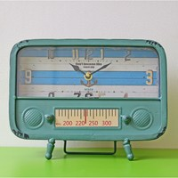 European Antique Style Radio Model Clocks Wrought Iron Desk Clock bedroom office pendulum Home Decor