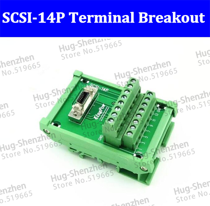 High quality SCSI 14P 14Pin CN slot 180 degree acquisition card Terminal Block Breakout Board Adapter DIN Rail Mounting 5pcs