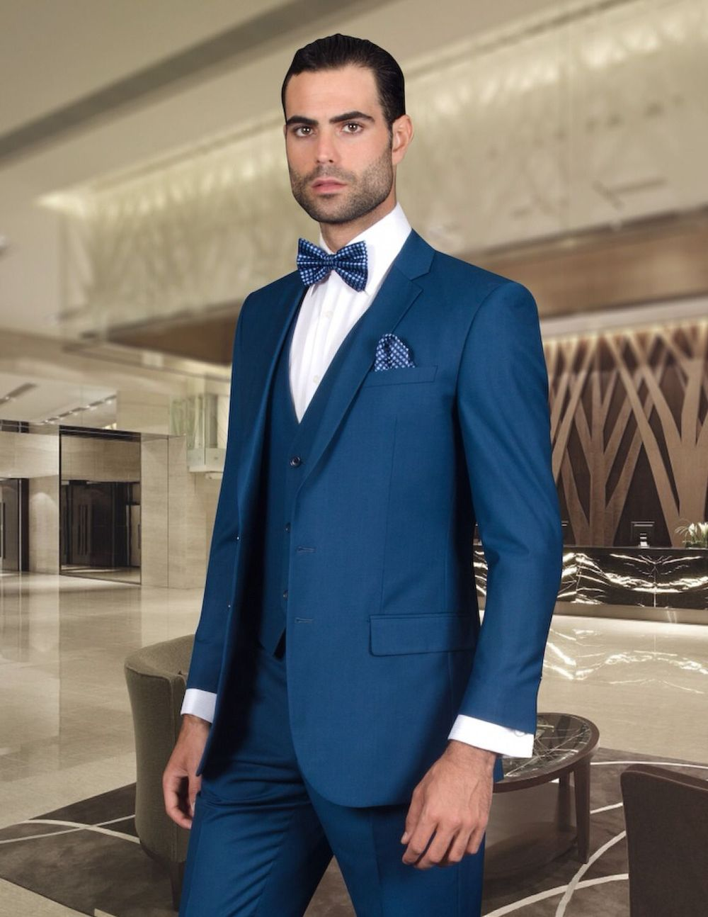Beach Wool Blend Suits Trim Fit Navy Blue Men Wedding Suit Groom ...