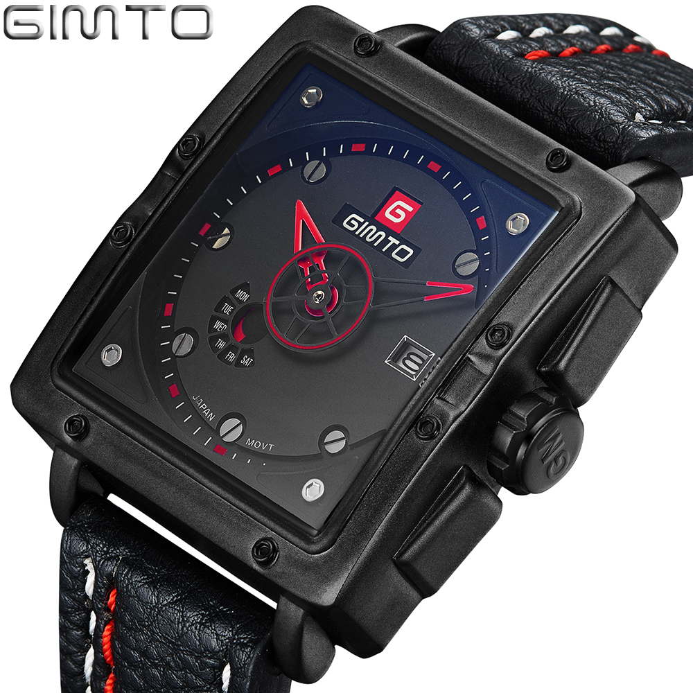 GIMTO Square Sport Mens Watch Fashion Quartz Analog Military Watch Date Waterproof Watch Male Watches Hours Relogio Masculino mens watch army sport analog day date quartz calendar pilot stylish male chronograph aviator relogio masculino