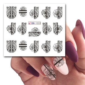 Image 3 - 12 Designs Nail Art Slider Black Lace Flower Full Wrap Sticker Water Transfer Decal Decor Polish Manicure Tattoo LABN1213 1224 2