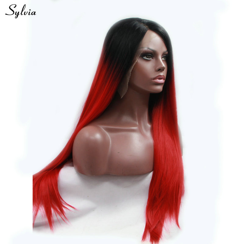 Sylvia Straight Long Hair Red Wig Ombre Black Roots Two Tone Heat Resistant Synthetic Lace Front Wigs for Women Natural Hairline