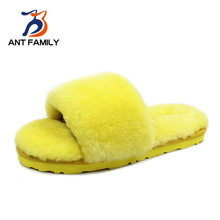Natural Sheepskin Fur Home Slippers Women Winter Wool Slippers Luxury Furry House Slippers Fashion Lovely Yellow Indoor Slippers