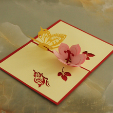 10 pieces lot Free Ship Three dimensional Butterfly Flower Birthday Day Gift Greeting Card Rose