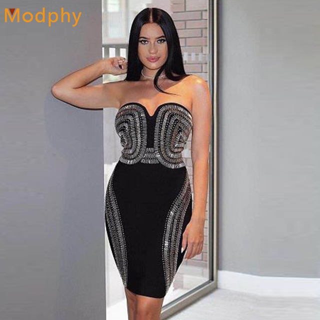 ed7c3b0fd3cb9 2018 Women sexy fashion rayon stretchy beading sequined bodycon strapless  mini club celebrity evening party bandage dress HL115