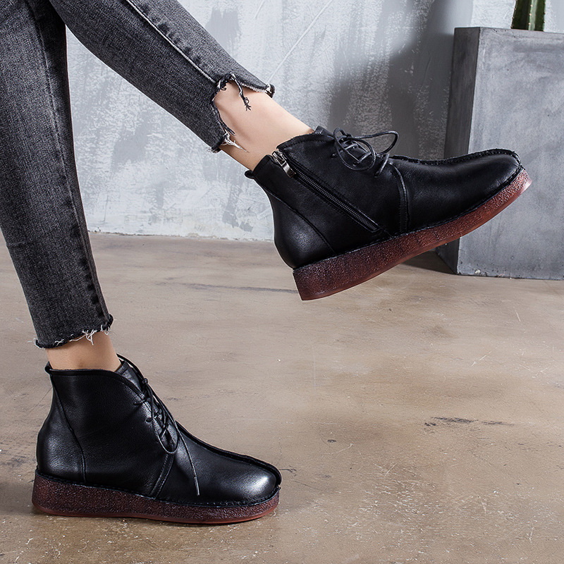 Lianhuaxiang Women's Shoes round head Genuine leather Lace Up Platforms winter shoes women casual Short Tube women's boots
