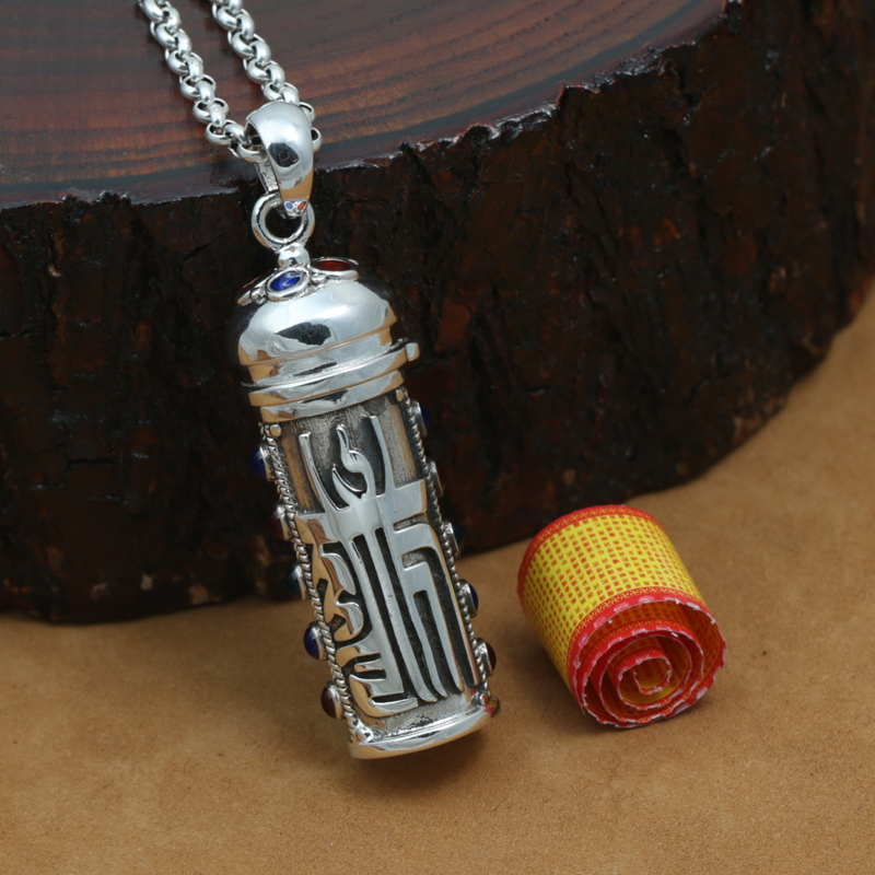 Fine-crafted 925 Caixa Gau Tibetano Pingente de Prata do vintage Caixa de Oração Budista Pingente de prata esterlina