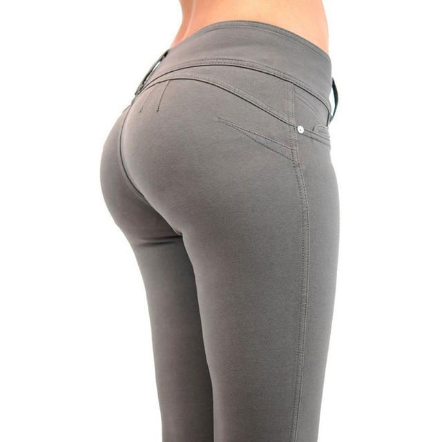 2016 Otoño Nueva Moda de los Pantalones de Las Mujeres Cintura Baja Pantalones del Lápiz Más Tamaño Empuja Hacia Arriba Elástico Jeggings Sexy Ropa Culturismo Pantalones