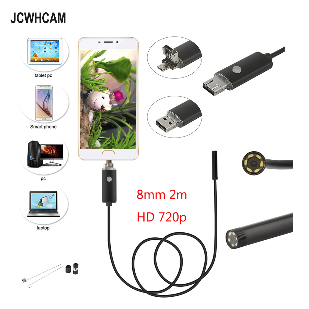 JCWHCAM New 2M Android USB Endoscope Camera 8mm Len Flexible USB Snake Camera HD 720P Endoscopy Android USB Borescope Camera