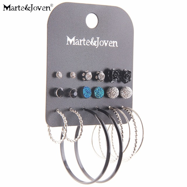 Marte Joven Black Circle Hoops And Silver Color Twisted Hoop Earring Set For Women Mixed Round