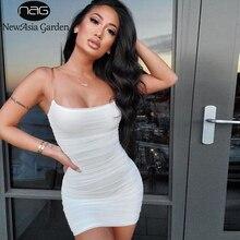 Newasia 2 camadas vestido de festa verão das mulheres 2019 novas tiras malha plissada bodycon sexy vestido de festa mini magro ajuste ruched vestido branco