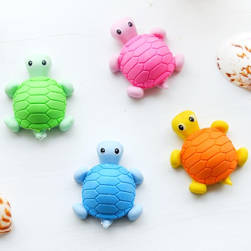Coloffice 2pc Cartoon Environment Lifelike Small Tortoise Imitation Eraser Animal Eraser Creative Stationery  Gifts Random Color