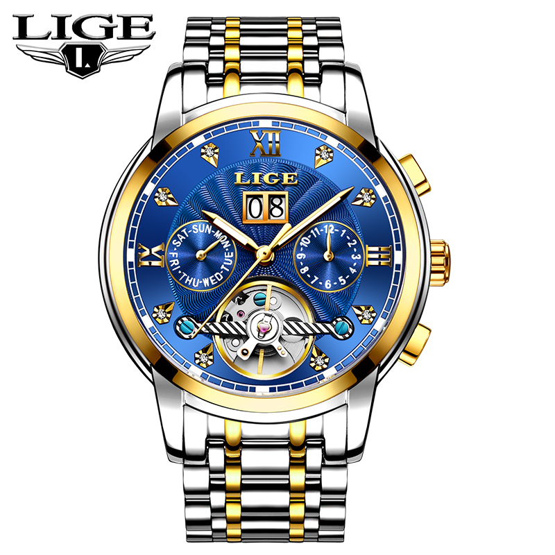 LIGE Mens Watches Automatic Mechanical Top Brand Luxury Watches Mens Full Steel Business Waterproof Fashion Sports Watch Clock LIGE Mens Watches Automatic Mechanical Top Brand Luxury Watches Mens Full Steel Business Waterproof Fashion Sports Watch Clock