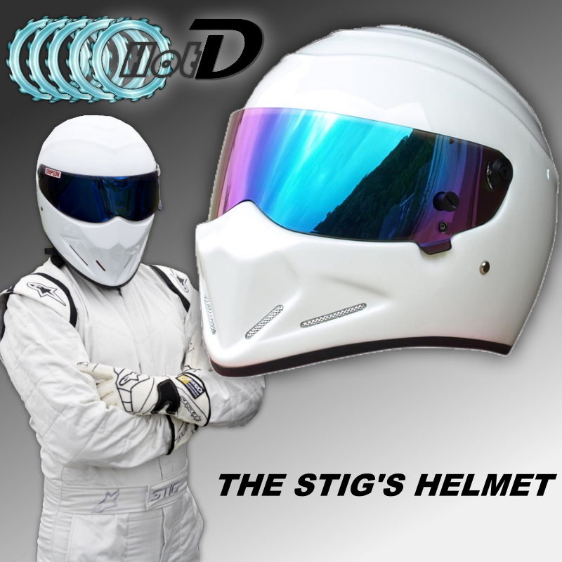 TopGGGear The STIG Helmet / TG Fans's Collectable / Like as SIMPSON Pig / White Motorcycle Helmet with Colorful Visor Cosplay for top gear the stig helmet with silver visor tg collectable like simpson pig yellow motorcycle helmet you re the stig