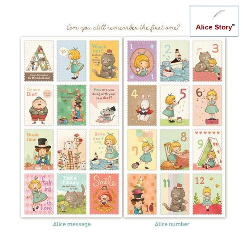 Vintage stamp stickers little Alice stamp stickers diary ...