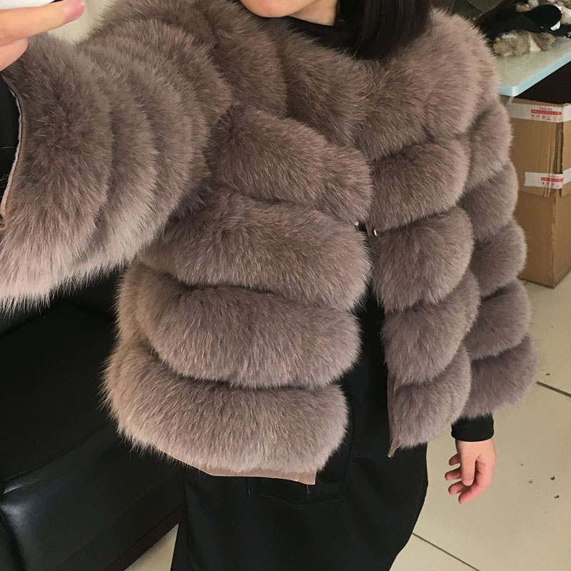 maomaokong 50CM Natural Real Fox Fur CoatWomen Winter natural fur Vest Jacket Fashion silm Outwear Real Fox Fur Vest Coat Fox 25