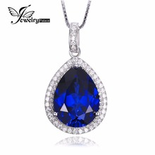 JewelryPalace 11.08ct Water Drop Minimize Blue Sapphire Pendant Pure 925 Sterling Stable SilverJewelry for Ladies Not Embrace the Chain