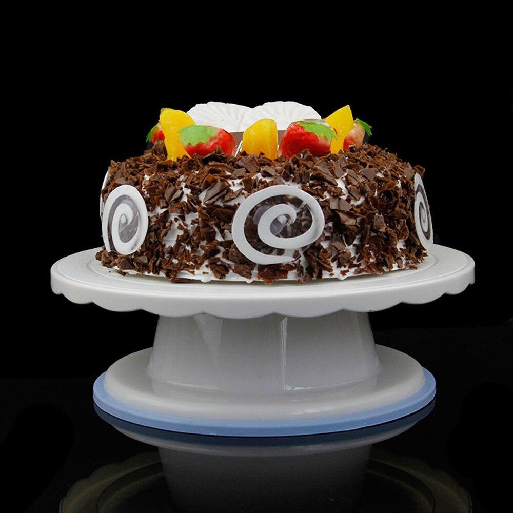 Cake Swivel Plate Revolving Decoration Stand Platform Turntable 28cm Round Rotating Cake Swivel Christmas Baking Tool HM19