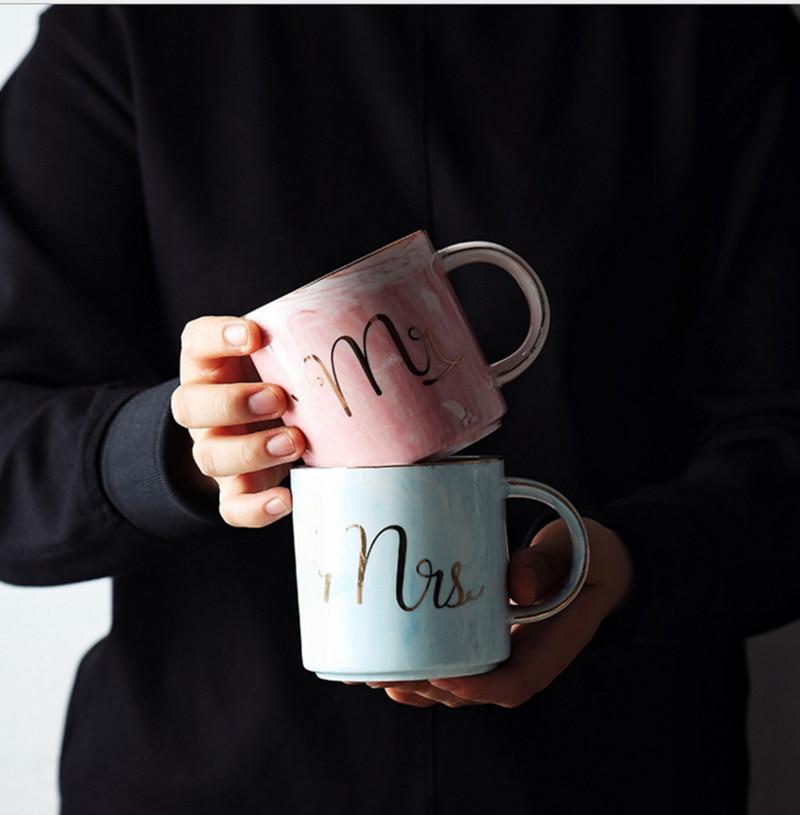 Européenne Or estampage marque en céramique amoureux de tasse de tasse petit-déjeuner tasse de café et thé au lait tasse Mr MS lettre Hommes femmes marbre Tasse