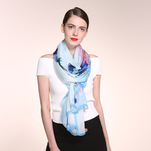 200x110cm Temperament Flroal Print 100% Real Silk Scarf ,Women Top Grade Summer Sunscreen Silk Scarves Shawl Beach Cover-ups