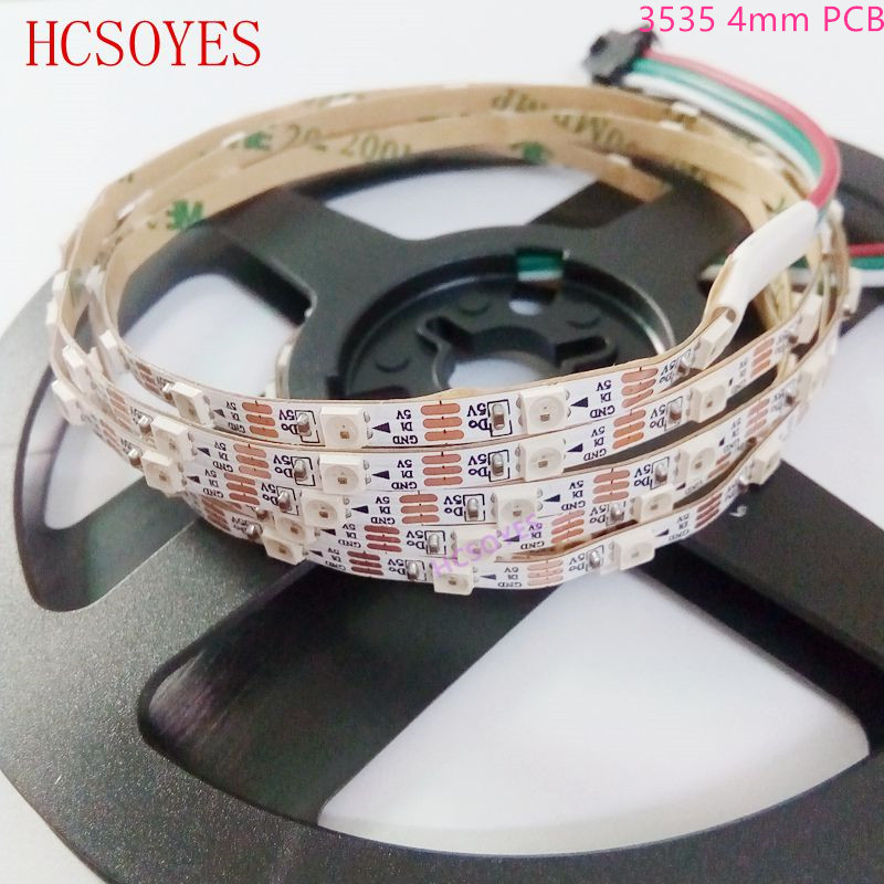 (2m/lots) DC5V SK6812 3535 5050 60LEDs/m <font><b>4mm</b></font> 5mm PCB non-waterproof RGB addressable <font><b>led</b></font> pixel strip image