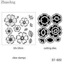 ZhuoAng Little Flowers Metal Cutting Dies and Clear Stamp Set for DIY Scrapbooking Photo Album Decoretive Embossing Stencial