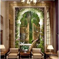Beibehang Customized Large Wallpapers 3d Garden Eden Shimen Roman Pole 3D Arcade Backdrop Tapety Papel De