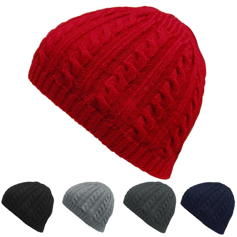 063bd68aeb1 2018 Winter Casual Cable Knit Warm Crochet Hats For Women Men Baggy Beanie  Hats Gorros Cap