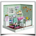 F007 Diy doll house room ( with dust cover ) wooden dollhouse miniature bedroom handmade model toys free shipping
