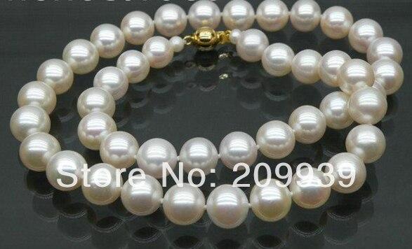 Huij 003194 Véritable AAA + 8.5-9.5mm rond blanc akoya collier de perles