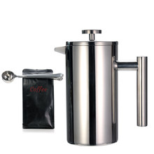 French Press Coffee Maker + Coffee Spoon, Double-Wall 304 Stainless Steel Coffee Pot with filter, 2pcs in one set(China)
