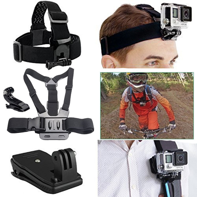 Go pro Head and Backpack Mount Bundle for GoPro Hero 5 for Gopro Hero 5 4 3+ 3 2 1 SJ4000 SJ5000 SJ6000 H9R H9 H9SE Session