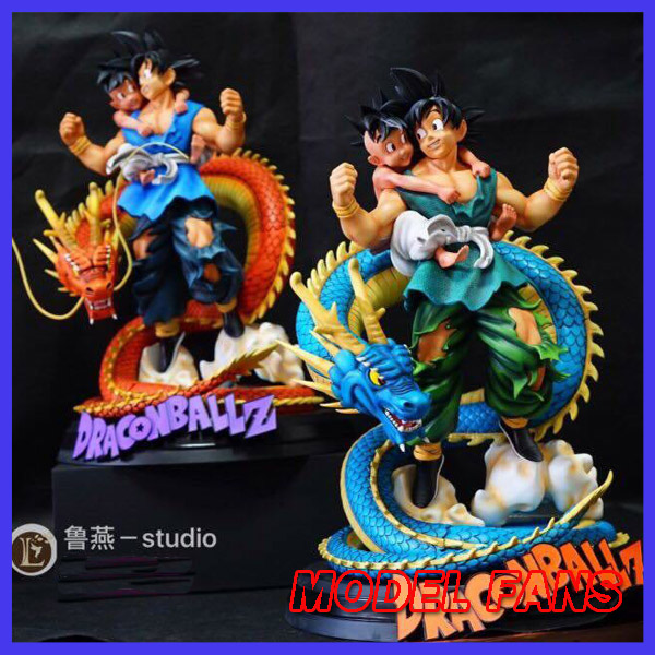 MODEL FANS IN-STOCK 40cm height Dragon Ball Z goku and Ubu(Buu reincarnation) blue/yellow dragon gk resin statue for visual communication spotlights for exhibition and trade fairs 40cm long arm and 30cm extra height