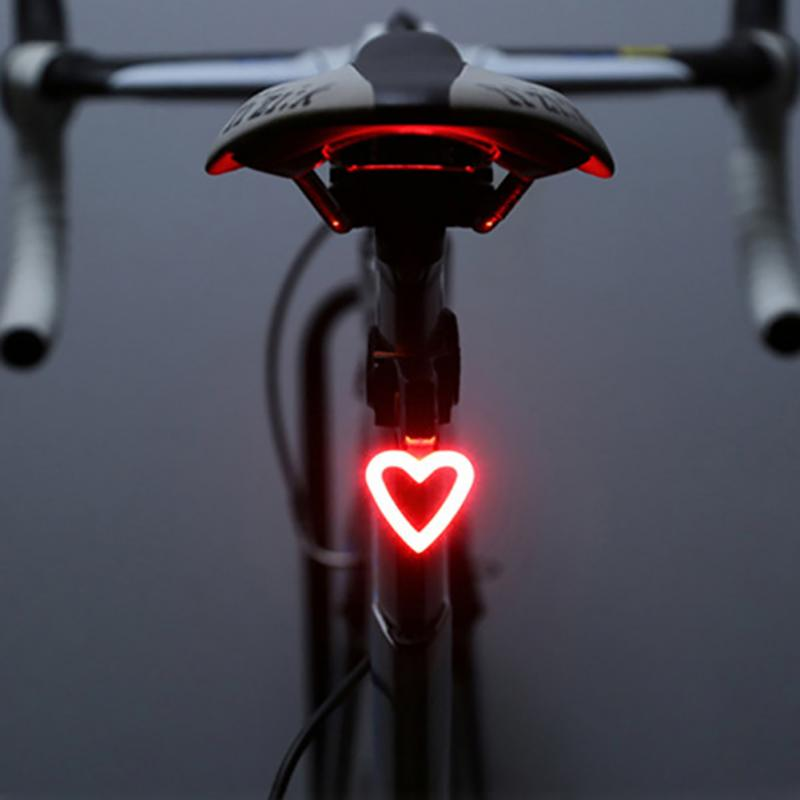 2018 NEW 5 Modes Heart Round Shaped High-brightness LED Night Riding Safety Warning Taillight Cycling Mountain Bike Tail Light