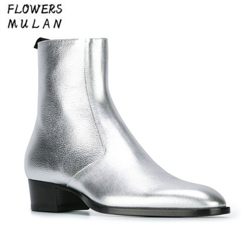 Classic Mens Ankle Boots Side Zip Silver Patent Leather Harness Chelsea Boots Runway Style Mens Metallic Leather Shoes Botas Man