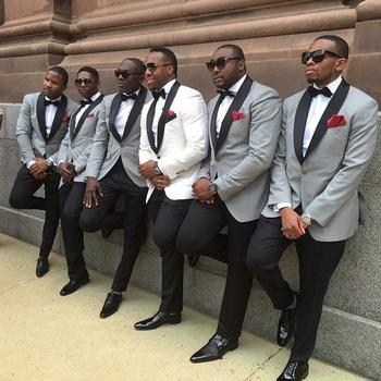 One button slim fit groom tuxedo light grey Jacket with Black Pants mens Tuxedos Black lapel best men suits Custom Made Groomsme