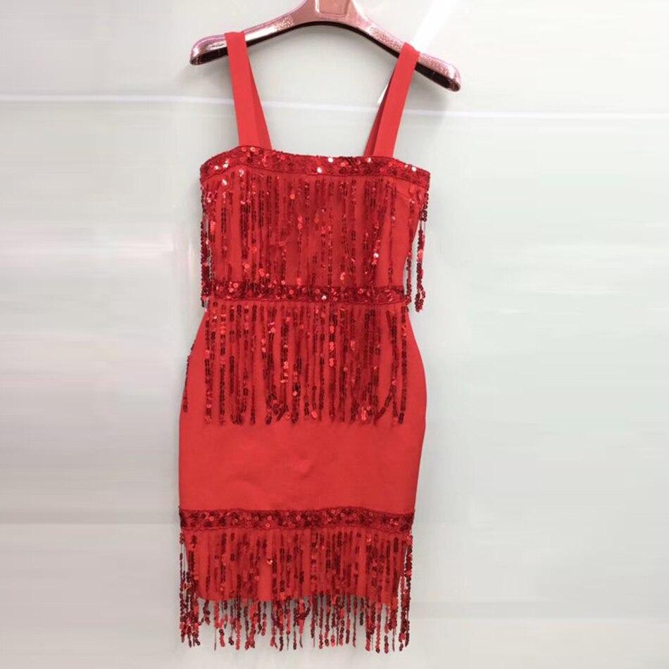 Женская Гламурная кисточка повязка с блестками платье сексуальное красное черное без рукавов Мини Вечерние платья облегающее женское Клуб