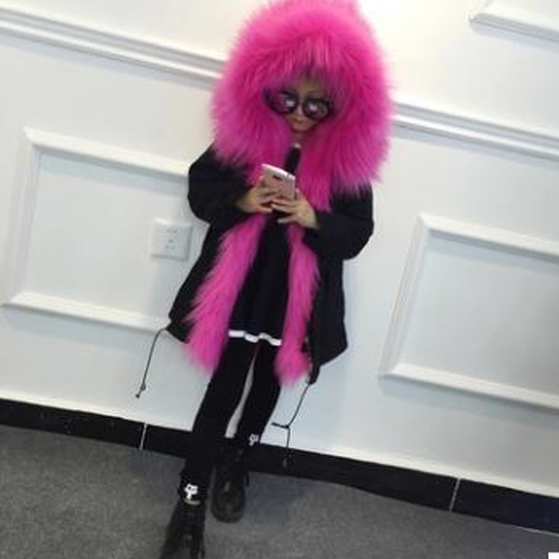 Boys Girls Fur Coat Parkas Winter Big Fur Collar Kids Jackets Coats Removable Fox Fur Liner Children Thick Warm Hooded Outerwear plus size winter women cotton coat new fashion hooded fur collar flocking thicker jackets loose fat mm warm outerwear okxgnz 800