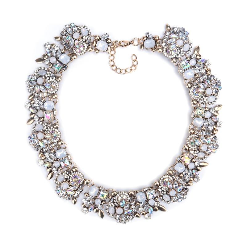 Prix pour 2016 Nouvelle Marque De Mode AB Briller Cristal Fleur Collier Or Ras Du Cou Déclaration Colliers et Pendentifs Strass Bib Collier