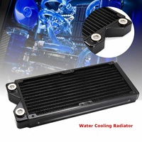 Black G1/4 240mm 12 Pipes Copper Water Cooling Radiator Computer CPU Heatsink Radiator Computer Component Fan Cooling