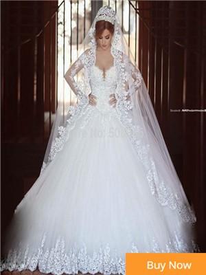 Long-Sleeve-Lace-A-Line-V-Neck-Wedding-Dress-Vestido-De-Noivas-2015-Elegant-Bridal-Gown