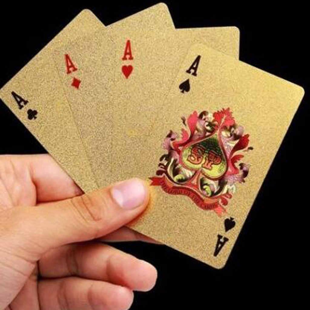 Heißer Verkauf Spielkarten Mit 24K Gold Blatt Dollar Design Volle Deck Poker Spiel Set Kunststoff Magie Karte Wasserdicht karten baralho