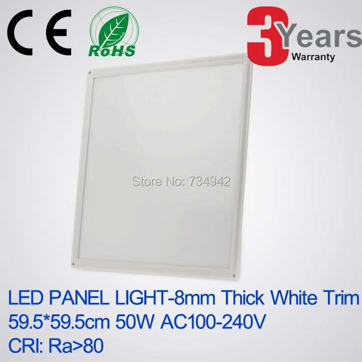Super Slim 8mm 595x595(mm) 50W White Trim LED panel light High CRI>80 Ceiling Mounting Type LED Panel Lamps LED Panel Bulb mesh panel striped trim top
