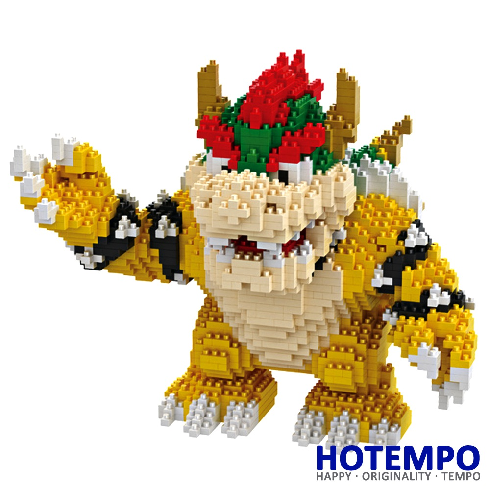 HOTEMPO Mini Blocks Big Size Anime cartoon Bowser Action Figure DIY Building Blocks Model Bricks Educational Toys for Kid 16012 1500 2200 pcs big size plastic cute cartoon designs of mini nano blocks diamond mini block toys for children diy game